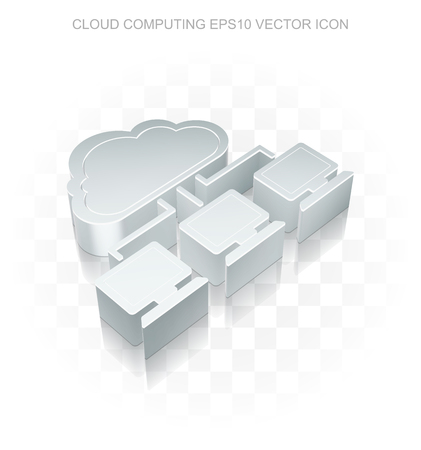 cloud network: Cloud networking icon: Flat metallic 3d Cloud Network, transparent shadow on light background, Illustration