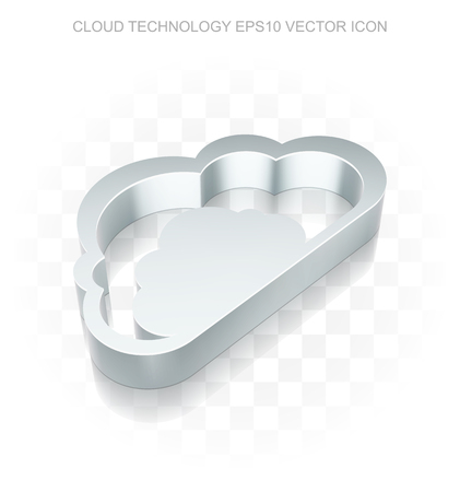Cloud networking icon: Flat metallic 3d Cloud, transparent shadow on light background