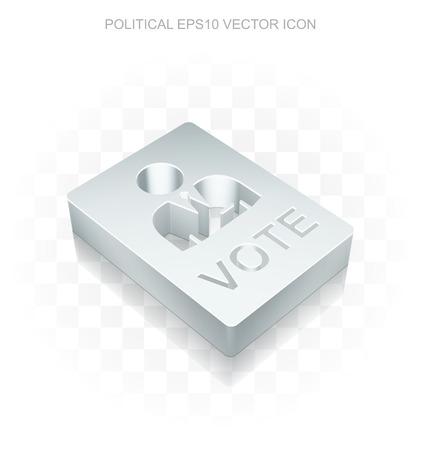 chrome man: Politics icon: Flat metallic 3d Ballot, transparent shadow on light background