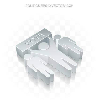 Politics icon: Flat metallic 3d Election, transparent shadow on light background