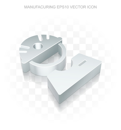 factory worker: Industry icon: Flat metallic 3d Factory Worker, transparent shadow on light background Illustration