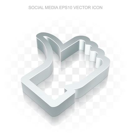 Social media icon: Flat metallic 3d Thumb Up, transparent shadow on light background