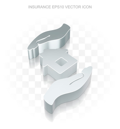 Insurance icon: Flat metallic 3d House And Palm, transparent shadow on light background Vetores