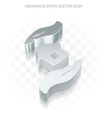 Verzekeringspictogram: Flat metallic 3d Huis En Palm, transparante schaduw op lichte achtergrond Vector Illustratie