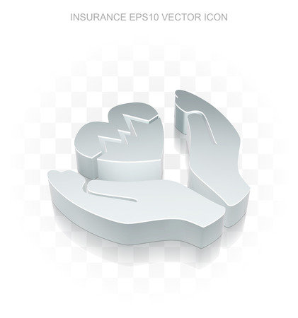 Insurance icon: Flat metallic 3d Heart And Palm, transparent shadow on light background Illustration