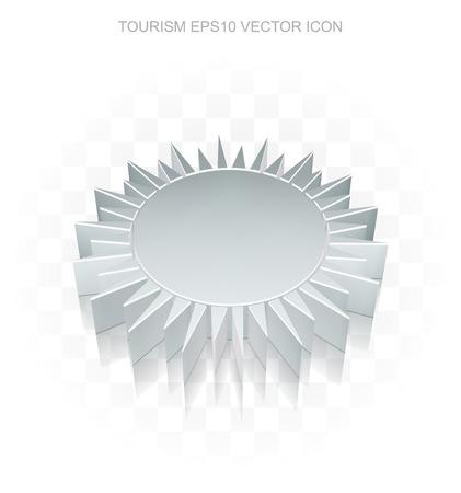 metallic  sun: Travel icon: Flat metallic 3d Sun, transparent shadow on light background