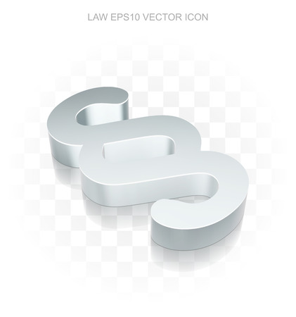 iron defense: Law icon: Flat metallic 3d Paragraph, transparent shadow on light background Illustration