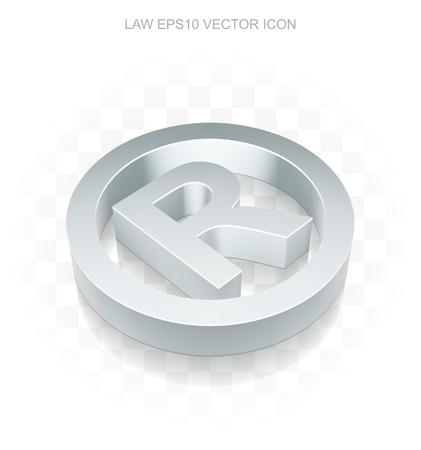 r regulation: Law icon: Flat metallic 3d Registered, transparent shadow on light background