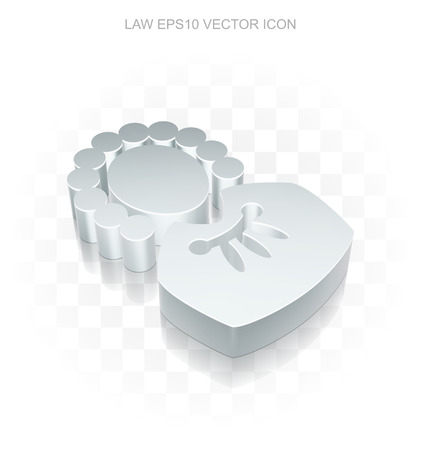 iron defense: Law icon: Flat metallic 3d Judge, transparent shadow on light background Illustration