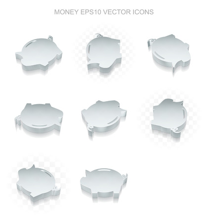 pig iron: Banking icons set: different views of flat 3d metallic Money Box icon with transparent shadow on white background Illustration