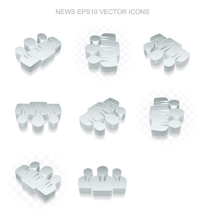 shadow people: News icons set: different views of flat 3d metallic Business People icon with transparent shadow on white background
