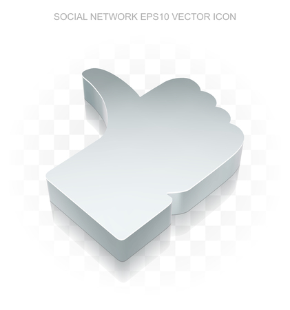 iron fan: Social media icon: Flat metallic 3d Thumb Up, transparent shadow on light background