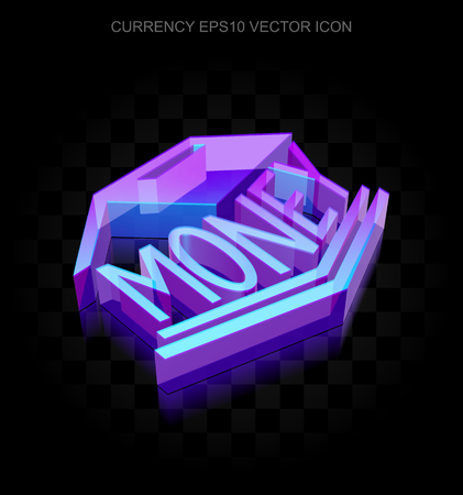 money box: Money icon: 3d neon glowing Money Box made of glass with transparent shadow on black background, EPS 10 vector illustration.