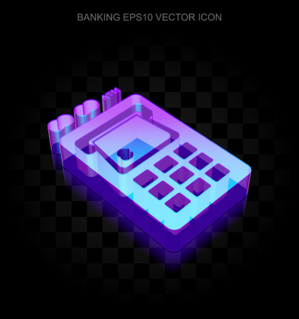 machine made: Currency icon: 3d neon glowing ATM Machine made of glass with transparent shadow on black background, EPS 10 vector illustration.