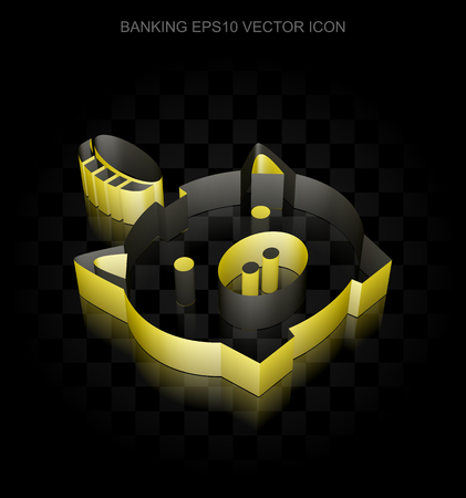 coin box: Money icon: Yellow 3d Money Box With Coin made of paper tape on black background, transparent shadow, EPS 10 vector illustration.
