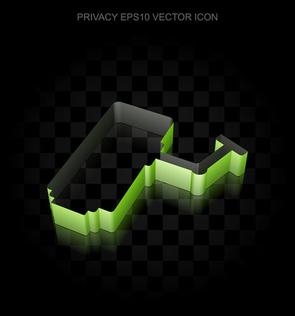 cctv camera: Security icon: Green 3d Cctv Camera made of paper tape on black background, transparent shadow, EPS 10 vector illustration.