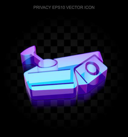 cctv camera: Privacy icon: 3d neon glowing Cctv Camera made of glass with transparent shadow on black background, EPS 10 vector illustration. Illustration