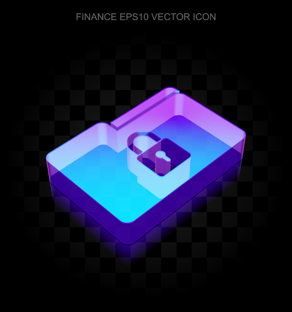 folder lock: Finance icon: 3d neon glowing Folder With Lock made of glass with transparent shadow on black background, EPS 10 vector illustration.