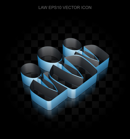 shadow people: Law icon: Blue 3d Business People made of paper tape on black background, transparent shadow