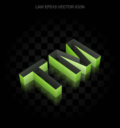 criminal act: Law icon: Green 3d Trademark made of paper tape on black background, transparent shadow Illustration