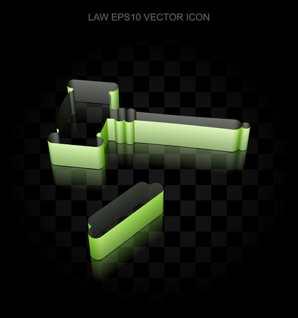 auctioning: Law icon: Green 3d Gavel made of paper tape on black background, transparent shadow Illustration