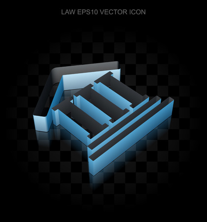 courthouse: Law icon: Blue 3d Courthouse made of paper tape on black background, transparent shadow Illustration