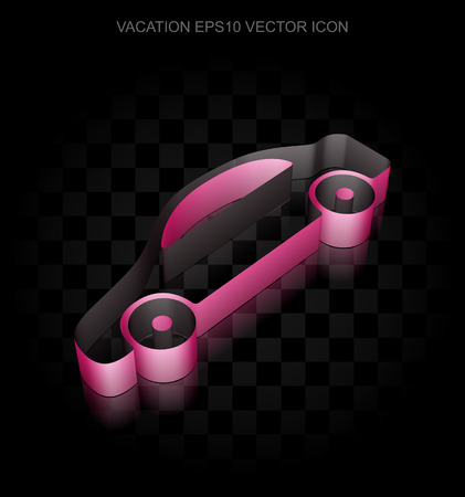crimson: Vacation icon: Crimson 3d Car made of paper tape on black background, transparent shadow, EPS 10 vector illustration.