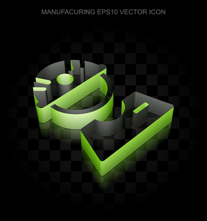 factory worker: Industry icon: Green 3d Factory Worker made of paper tape on black background, transparent shadow, EPS 10 vector illustration. Illustration