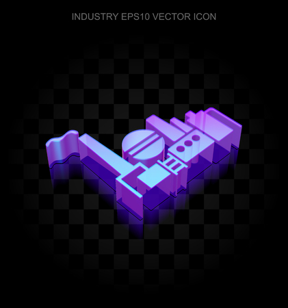 neon plant: Industry icon: 3d neon glowing Oil And Gas Indusry made of glass with transparent shadow on black background, EPS 10 vector illustration. Illustration