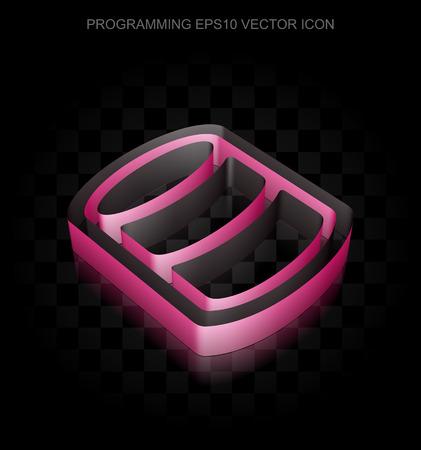 crimson: Software icon: Crimson 3d Database made of paper tape on black background, transparent shadow, EPS 10 vector illustration.