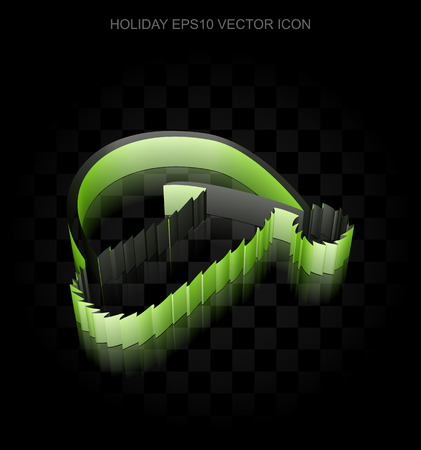 Entertainment, icon: Green 3d Christmas Hat made of paper tape on black background, transparent shadow, EPS 10 vector illustration. Illustration