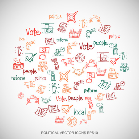 dictatorship: Multicolor doodles flat Hand Drawn Politics Icons set In A Circle on White background. EPS10 vector illustration. Illustration