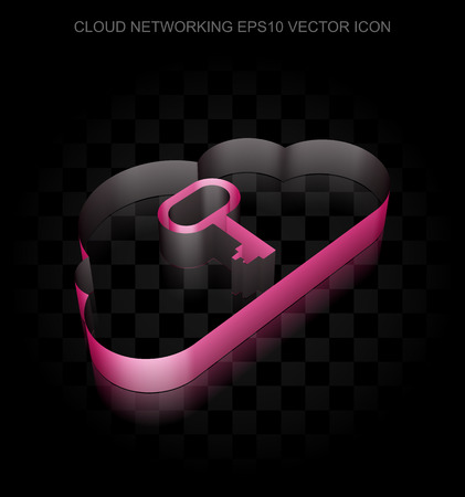 10 key: Cloud computing icon: Crimson 3d Cloud With Key made of paper tape on black background, transparent shadow, EPS 10 vector illustration.