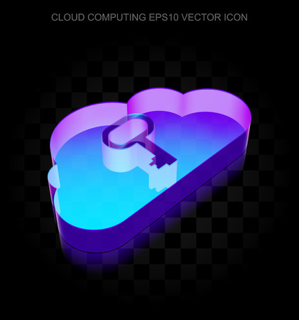 10 key: Cloud networking icon: 3d neon glowing Cloud With Key made of glass with transparent shadow on black background, EPS 10 vector illustration. Illustration