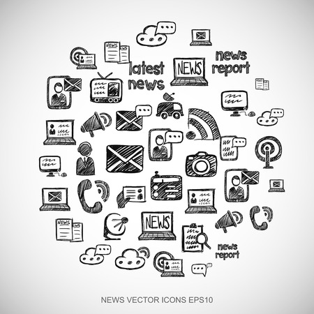 article: Black doodles flat Hand Drawn News Icons set In A Circle on White background. EPS10 vector illustration. Illustration