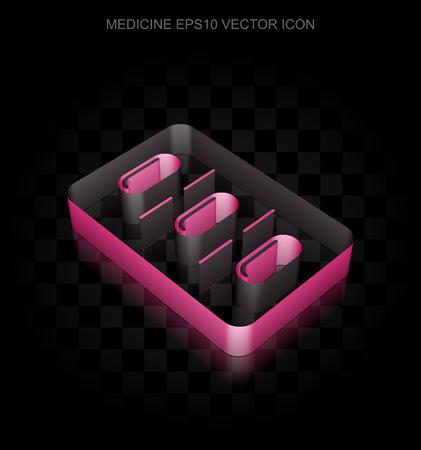 crimson: Healthcare icon: Crimson 3d Pills Blister made of paper tape on black background, transparent shadow, EPS 10 vector illustration.