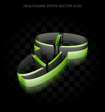 Healthcare icon: Green 3d Pills made of paper tape on black background, transparent shadow, EPS 10 vector illustration. Illustration