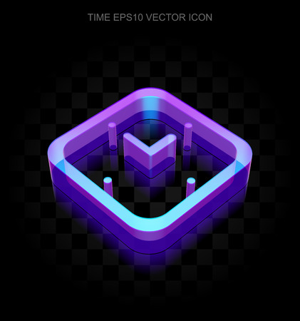 watch glass: Time icon: 3d neon glowing Watch made of glass with transparent shadow on black background, EPS 10 vector illustration.