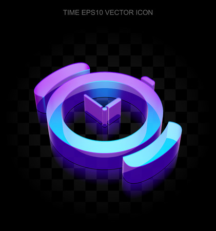 watch glass: Time icon: 3d neon glowing Hand Watch made of glass with transparent shadow on black background, EPS 10 vector illustration.