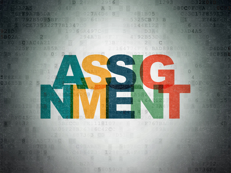 assignment: Law concept: Painted multicolor text Assignment on Digital Data Paper background