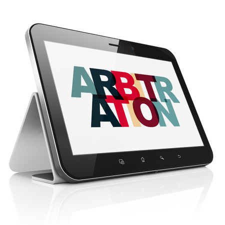 arbitration: Law concept: Tablet Computer with Painted multicolor text Arbitration on display, 3D rendering Stock Photo