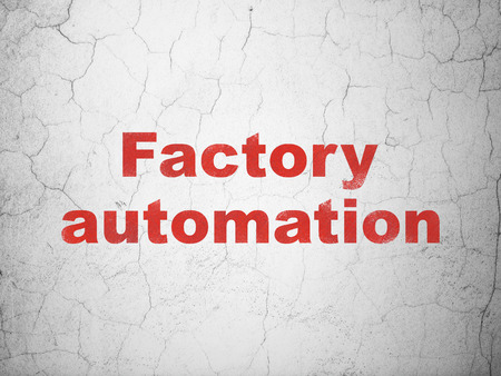 factory automation: Industry concept: Red Factory Automation on textured concrete wall background