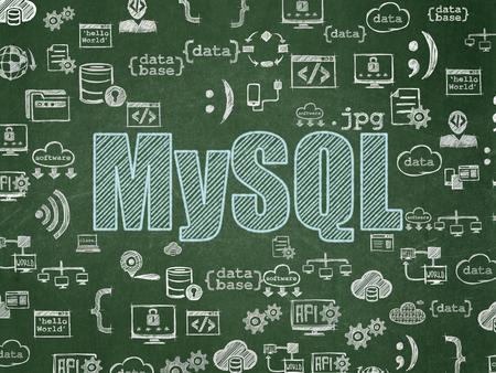 mysql: Database concept: Chalk Blue text MySQL on School board background with  Hand Drawn Programming Icons, School Board Stock Photo