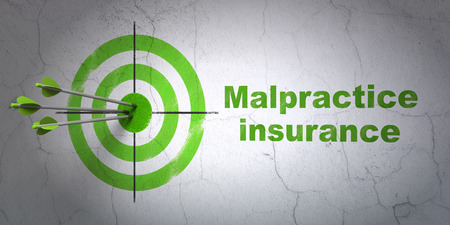 malpractice: Success Insurance concept: arrows hitting the center of target, Green Malpractice Insurance on wall background, 3D rendering Stock Photo