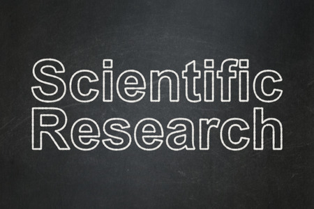 science scientific: Science concept: text Scientific Research on Black chalkboard background Stock Photo