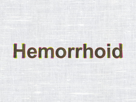 hemorrhoid: Health concept: CMYK Hemorrhoid on linen fabric texture background
