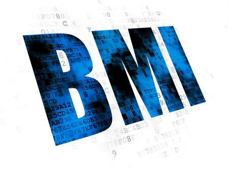 BMI: Health concept: Pixelated blue text BMI on Digital background