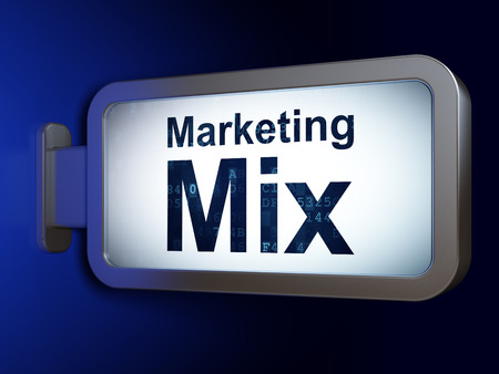 marketing mix: Advertising concept: Marketing Mix on advertising billboard background, 3D rendering Stock Photo