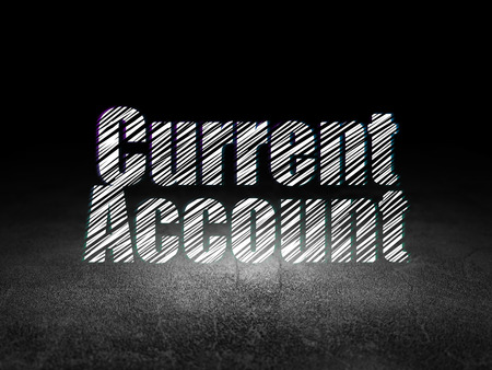 current account: Money concept: Glowing text Current Account in grunge dark room with Dirty Floor, black background
