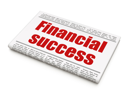 news values: Banking concept: newspaper headline Financial Success on White background, 3D rendering